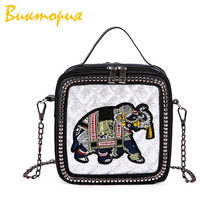 2019 New Women Bags PU Leather Flap Cheap Retro Solid Color Animal Chain Shoulder Handcuffs Small Square Bag Messenger Bag HOT pu leather animal prints color splicing shoulder bag