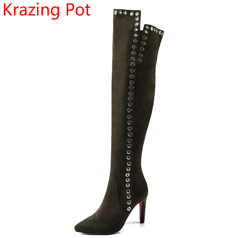 2018 Cow Suede Pointed Toe Winter Shoes Fashion Boots High Heels Rivet Thigh High Boots Nightclub Women Over The Knee Boots L0f7 newest design pointed toe long boots thin high heels thigh high boots army green suede lace up skinny dress boots nightclub shoe