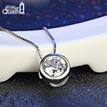 Effie Queen Women Necklace Cute Little Round Pendant Necklace with Shining Austrian Zircon Platinum Plated Necklace PN74
