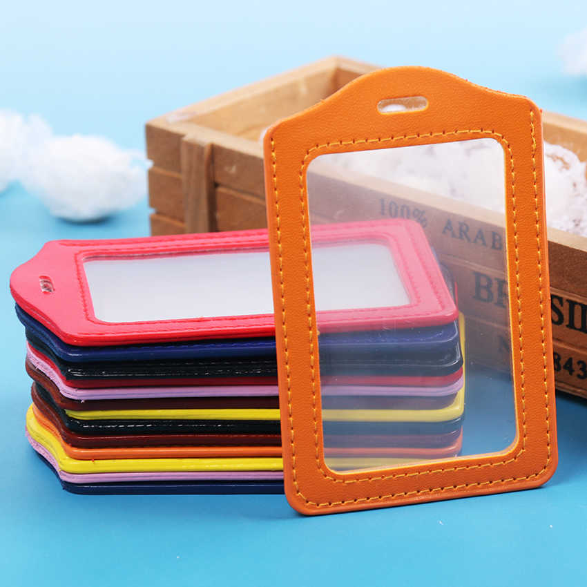 PU Leather ID Badge Case Clear With Color Border Lanyard Holes Card Badge Holder 11x7CM Office Stationery Supplies