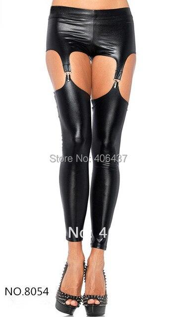 5cedd587750a41 New Women Sexy Low Waist Faux Leather Black Leggings Wet look Clubwear  Fashion Gothic Garter Pants Ladies free shipping