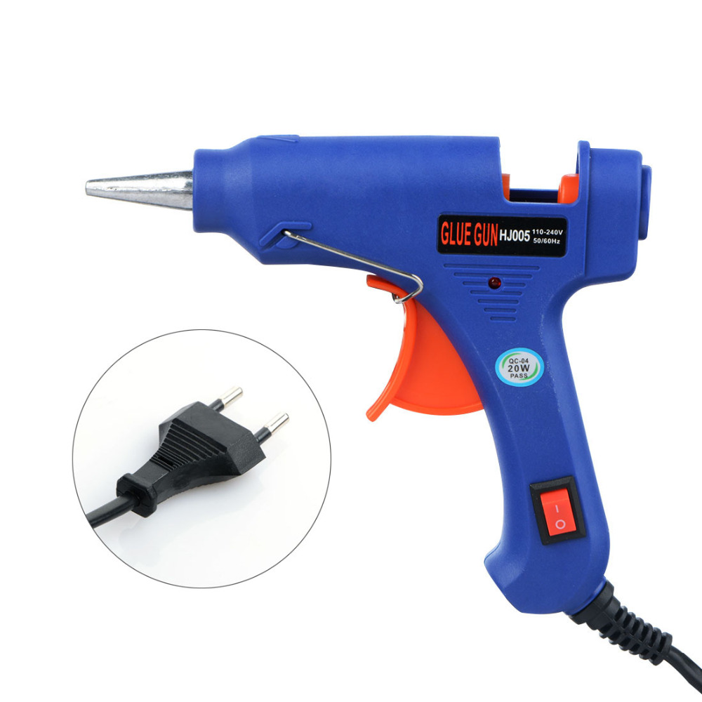 EU US Plug 10W 20W Hot Melt Glue Gun With Switch Indicator Light Glue Industrial Home Mini Guns Thermo Stick Electric Heat Tool jstop 2pcs set 206 207 led car reading lights t10 w5w trunk bulbs led 12vac t10 wy5w dome lights 5050smd canbus car reading lamp