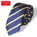 Lazo de la alta Calidad para Hombre 9 cm Corbata de Seda A Rayas Gravatas Hombres de La Moda Pajaritas Corbatas 2016 Corbata Ascot Azul Marino Amarillo empate