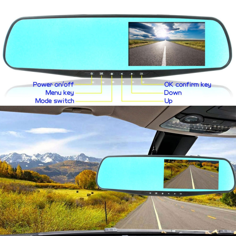 4.3 Inch Rear View Mirror Driving Recorder Single Lens HD 1080P With High Quality