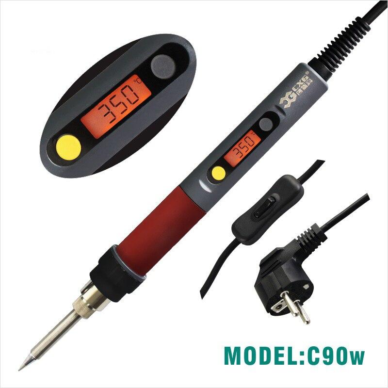 60W elektrische Temperatur Pistole Schwei/ßen L/ötkolben mit Schalter//Anzeige 220V EU Stecker
