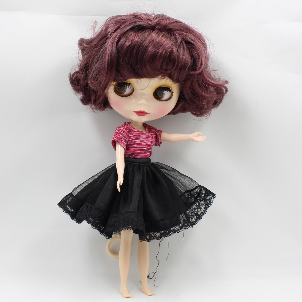 nude doll purple mix black wavy hair short hair normal body normal doll factory blyth doll BL12532/9219 adiors long middle parting shaggy wavy color mix synthetic party wig