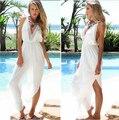 Белый макси сексуальная свободного покроя длиной до пола лонг-бич платье женщин 2016 танк жилет спинки туники мода Vestidos феста AX214