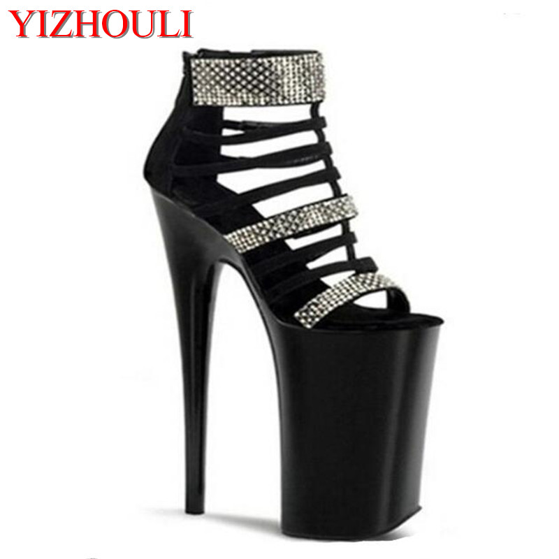 New arrival 20cm high heeled shoes rivet formal dress open toe sandals 8 inch gladiator sexy