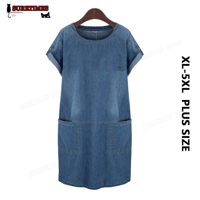 1d245f3e9a 2017 Summer Denim Dress Women Vintage Blue Short Sleeve Loose Casual Jeans  Dress Women Mini Vestidos Sundress Plus Size 4XL 5XL