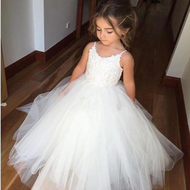 פרח ילדה שמלות לבן קרוואן נפוח חתונה מסיבת שמלת ילדה ראשית הקודש סעודת האדון השתתף נסיכת תחרה שמלת ערב