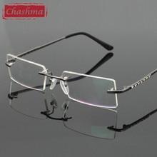 Chashma New Business Class Elegant Fashion Eyeglass Rimless Glasses Frames Brand Glasses Frame Myopia Eyewear with Diamonds