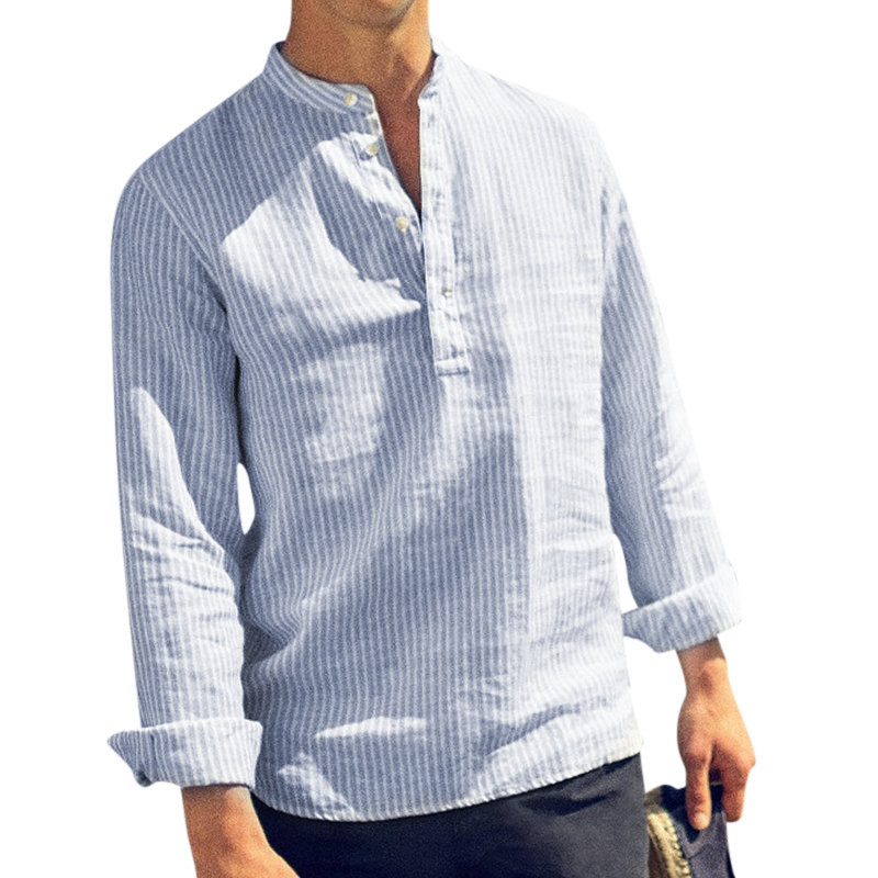Drop Shipping 2019 Spring Summer Long Sleeve Shirt Men Solid Striped Casual Shirts Henry Collar Cotton Linen Men's Shirt