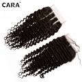 CARA Hair 4x4 Mongolian Kinky Curly Closure Natural Hairline Curly Hair With Closure Bleached Lace Closure With Baby Hair