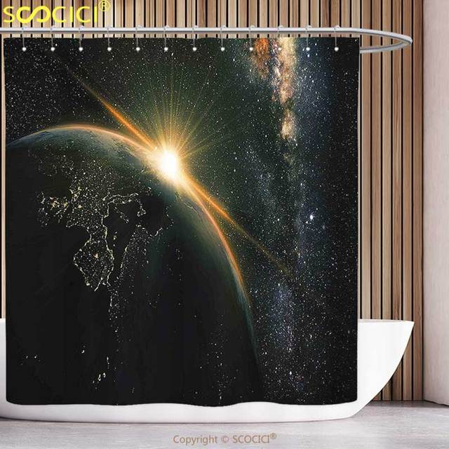Funky Shower Curtain Galaxy Sunrise View Of The Planet Earth From Space With Stars In Milky Way Outer Arts Print Black