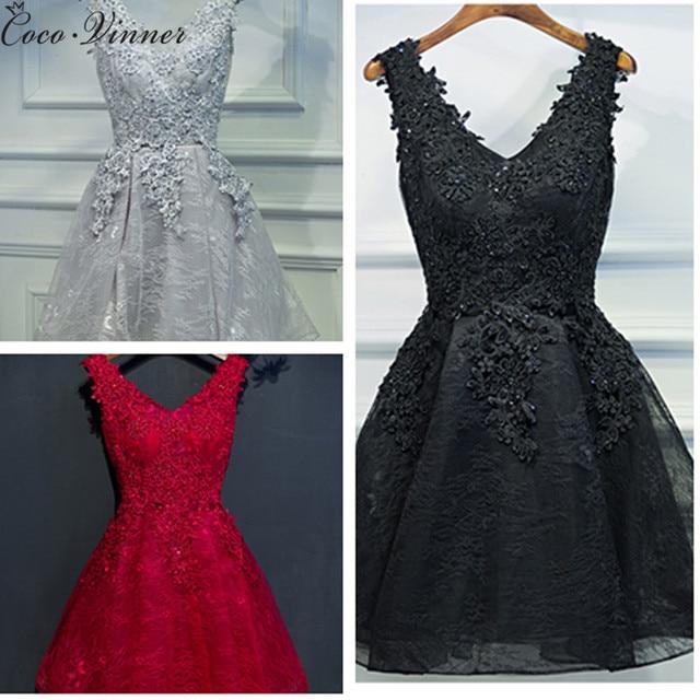 C. V вечернее платье 2018 короткий черный дизайн банкета платье цельнокроеное платье v-образным вырезом Большие размеры женские короткие вечернее платье ES e0002