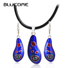 Blucome Fashion Punk Style Blue Enamel Necklace Earrings Pendant Jewelry Set Women Party Holiday Accessories Rope Chain Bijoux(China)