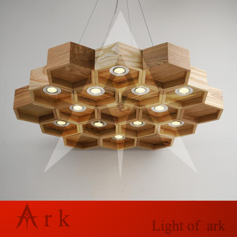 ark light Wooden Honeycomb Modern Creative Handmade Wood LED Hanging Pendant Lamp Lighting Light fixture home decoration denmark antique pinecone ph artichoke oak wooden pineal modern creative handmade wood led hanging chandelier lamp lighting light