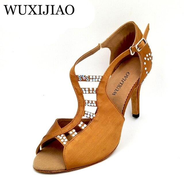 WUXIJIAO Nuovo confortevole bronzo raso scarpe da ballo e di strass da ballo sala da ballo scarpe da ballo Latino delle donne tacchi