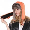 2015 New Russian Bomber Hats Faux Fur Winter Warm Ski Russian Hat Aviator Bomber Trapper Earflap Cap Snow Caps Bomber Hats