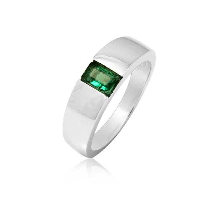 INZOLIA 925 sterling silver emerald ring for Man 18k gold plated Green big na