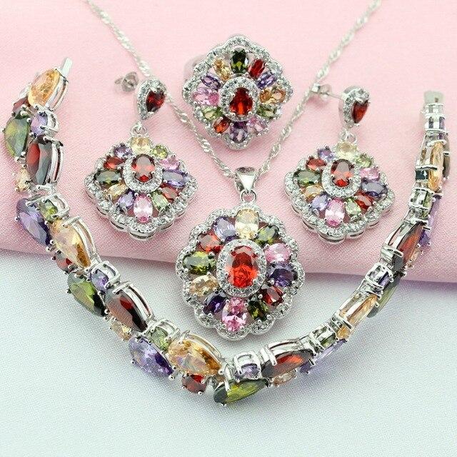 Fashion Mult-Color Stone Silver Color Jewelry Sets For Women Drop Earrings Brace