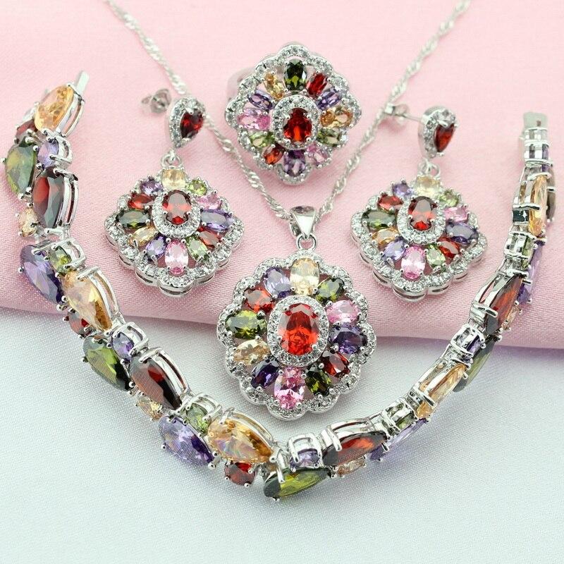 Mode Mult Farbe Stein Farbe Silber Schmuck Sets Für Frauen Ohrringe ...