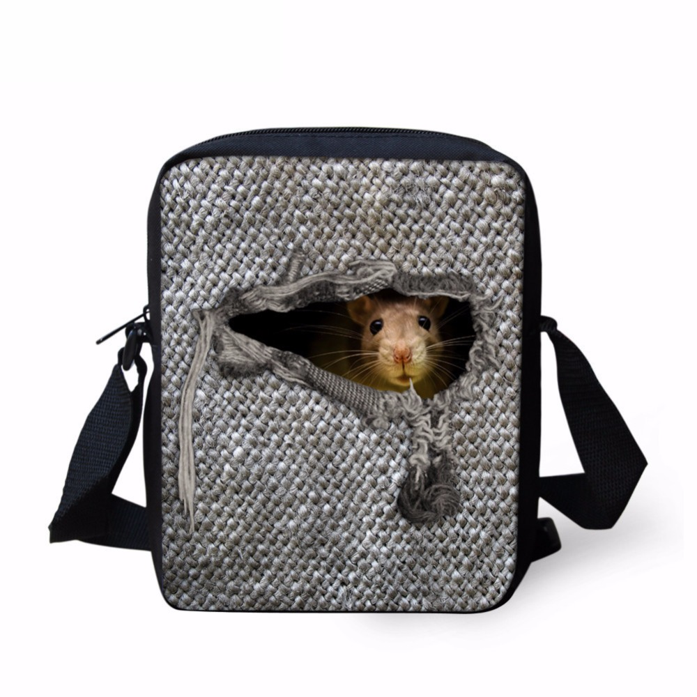 INSTANTARTS Cute Hamster Mini Schoolbags for Children Men Mochilas Messenger Shoulder Bags Cute Animal Dog Cat Pattern Bookbag