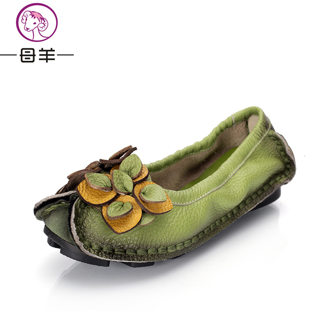 MUYANG Chinese Brands 2017 Fashion Handmade Shoes Woman Loafers Women's Shoes Genuine Leather Soft Casual Flat Shoes Women Flats