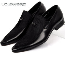 LOISWORD Large size EUR45 horsehair suede black pointed toe mens wedding shoes genuine leather dress shoes