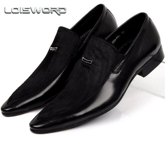 LOISWORD Large Size EUR45 Horsehair Suede Black Pointed Toe Mens Wedding Shoes Genuine Leather Dress