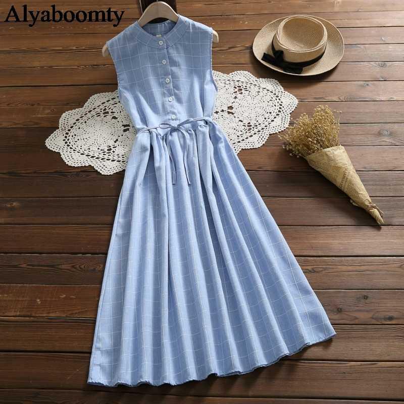 Корейский стиль летние женские длинные сарафаны синие серые клетчатые повседневные платья Femininos без рукавов со шнуровкой элегантное винтажное милое платье