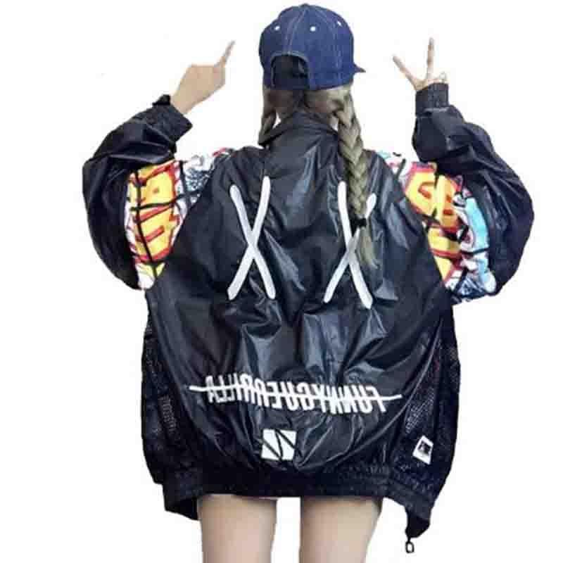 New Hollow Out Back Embroidery Bomber   Jacket   Sun Protection Loosen   Jacket   Student Harajuku Oversize Female   Basic   Coats