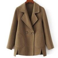 Новый стиль Double Face 100% шерсть ткани Женская мода Короткие пальто двубортный Бронзовый зеленый 4 цвета S XL