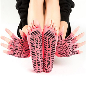 Image 5 - Najlepsze antypoślizgowe skarpetki do jogi rękawiczki damskie Grip Sticky Pilates Toe Toeless Sox bez poślizgu z wystającym palcem lepkie dno Barre Fitness wyściełane