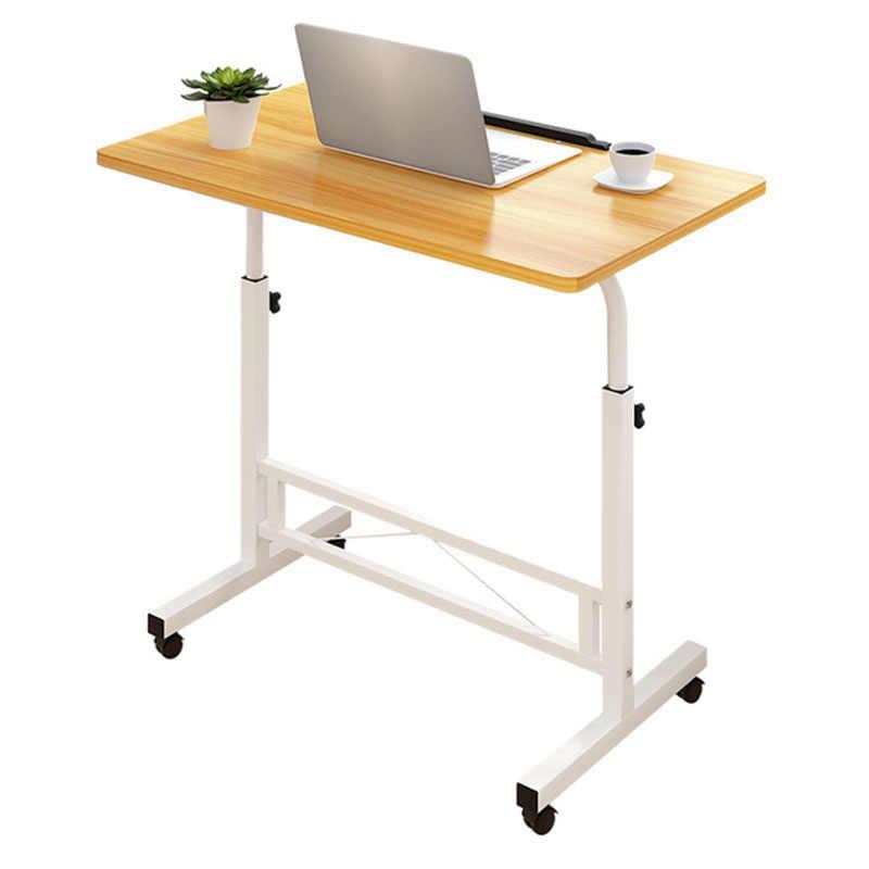 Регулируемый компьютерный стол простой мобильный подъемный стол для ноутбука с колесами деревянный стол для ноутбука рядом с кроватью диван
