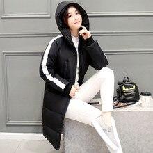2016 Зима Корейской версии Тонкий тонкий слой длинный отрезок с капюшоном теплый ватник большие ярдов ветровки куртки женщины Плюс размер