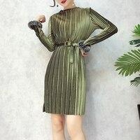 Autumn Dress 2018 Female Stuents Fashion Temperament T Slim Long Sleeved Plush Velvet Dress Party Vestidos