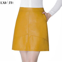 LXMSTH Autumn Winter New Package Hip Short Leather Skirt Women Black Yellow Fashion Sexy Slim Leather