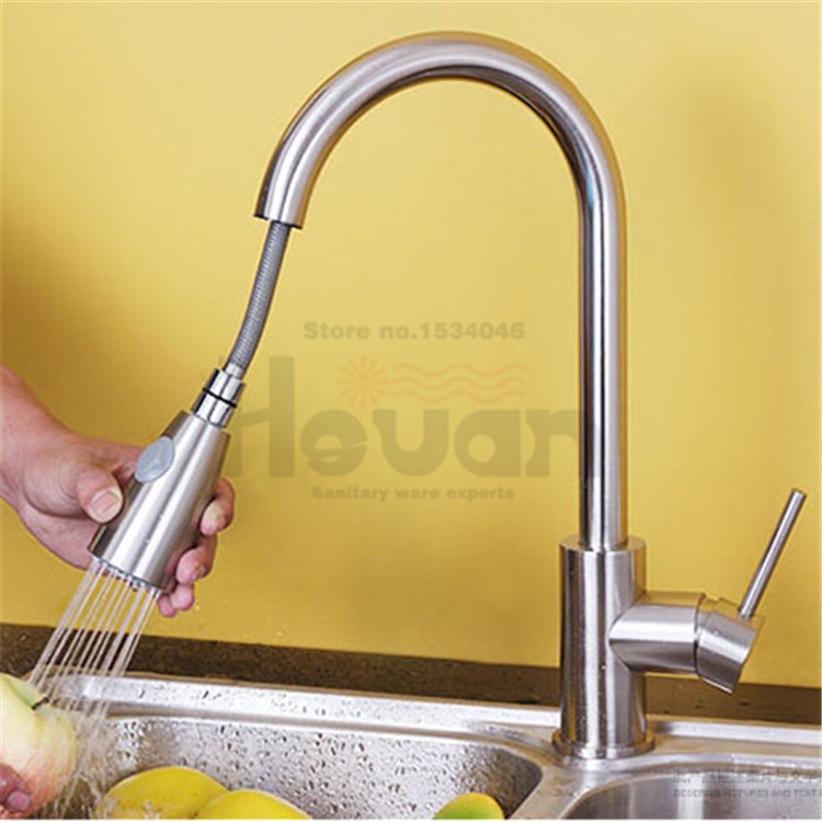 pull out surface brushed rotation pull out kitchen faucet single hole sink single handle water mixer tap newly arrived pull out kitchen faucet gold sink mixer tap 360 degree rotation torneira cozinha mixer taps kitchen tap