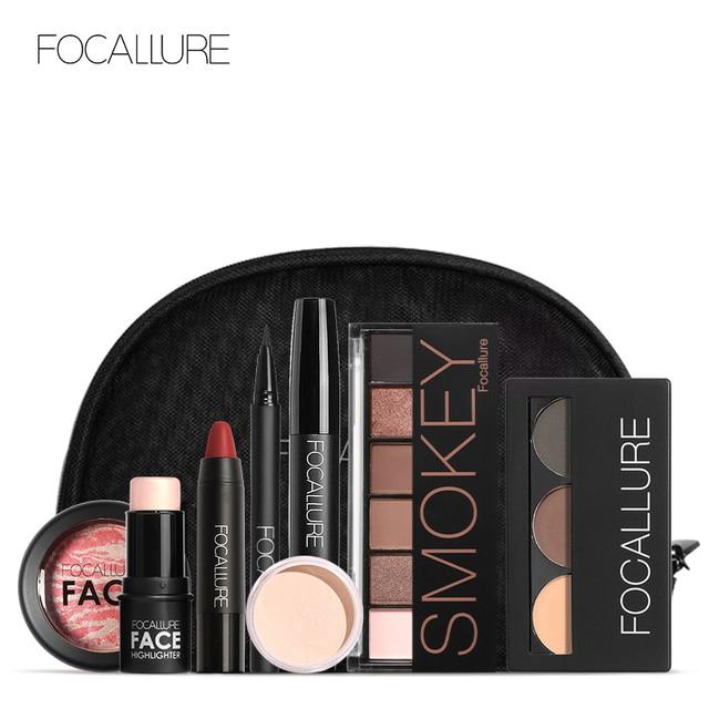 FOCALLURE 8 PCS Makup Tool Kit Moet Hebben Cosmetica Inclusief Glitter Oogschaduw Matte Lippenstift Blush Mascara Met Make Up Tas