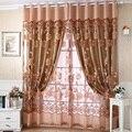 Cortinas Para Sala de estar de luxo Roxo Flor Talão Jacquard Organza Tule Voile Sheer Cortinas Cortina Da Janela Cortinas 250*100 CM