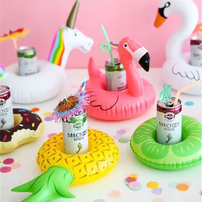 Unicorn Flamingo Inflatable Drink Beer Holder Summer Pool Party Float Accessories Kids Adults Bath Toys Donut Swimming Ring