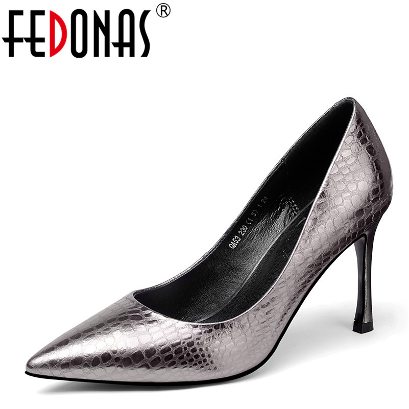 FEDONAS Fashion Women Classic Pumps Genuine Leather High Heels Shoes Spring Autumn Party Prom Shallow Shoes Woman Dancing Pumps