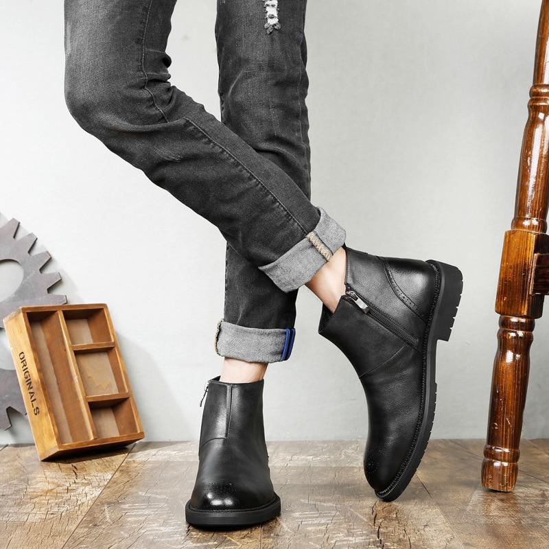Brun 38 Style Hommes Noir Richelieu Light Vintage Chaud Mode Automne Zipper Homme College Taille Brown Chaussures Grande noir Casual Bottes Pour Nouveau 47 Uv5X4qH