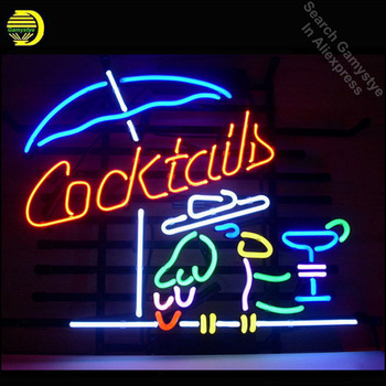"""NEON SIGN For COCKTAIL PARROT COCKTAILS Signboard REAL GLASS BEER BAR PUB display outdoor Light Signs 17*14"""" vintage neon signs"""