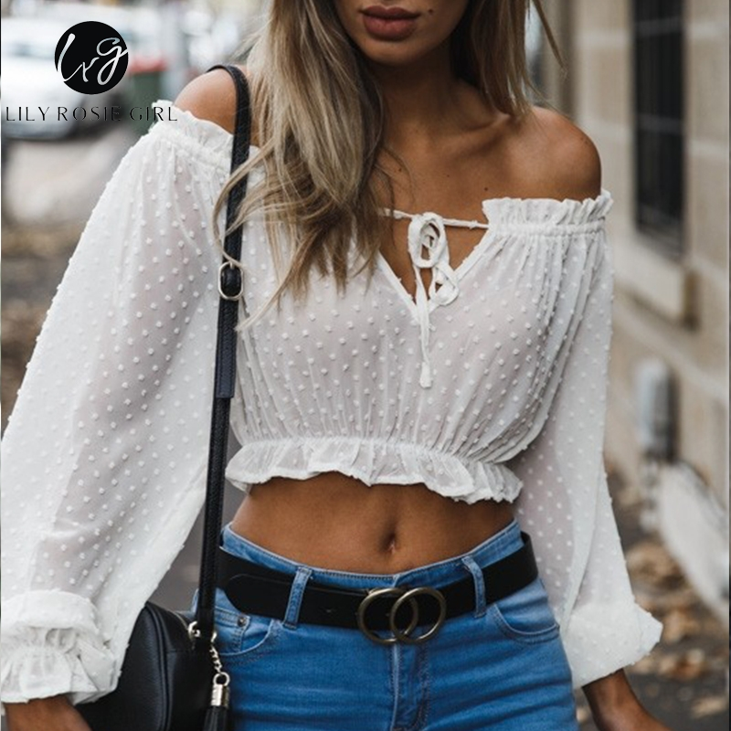 Lily Rosie Girl Off Shoulder White Women Blouse Shirt Solid Long Sleeve Short Blouse High Street See Through Club Sexy Crop Top