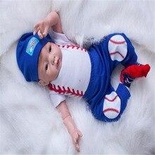 19 inch 48 cm Silicone baby reborn dolls, lifelike doll reborn Fashion blue suit dress doll