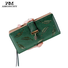 2019 Summer Hollow Out Women Wallets High Quality PU Leather Purse Clutch For Female Long Hasp Ladies Wallet Leaves Card Holders