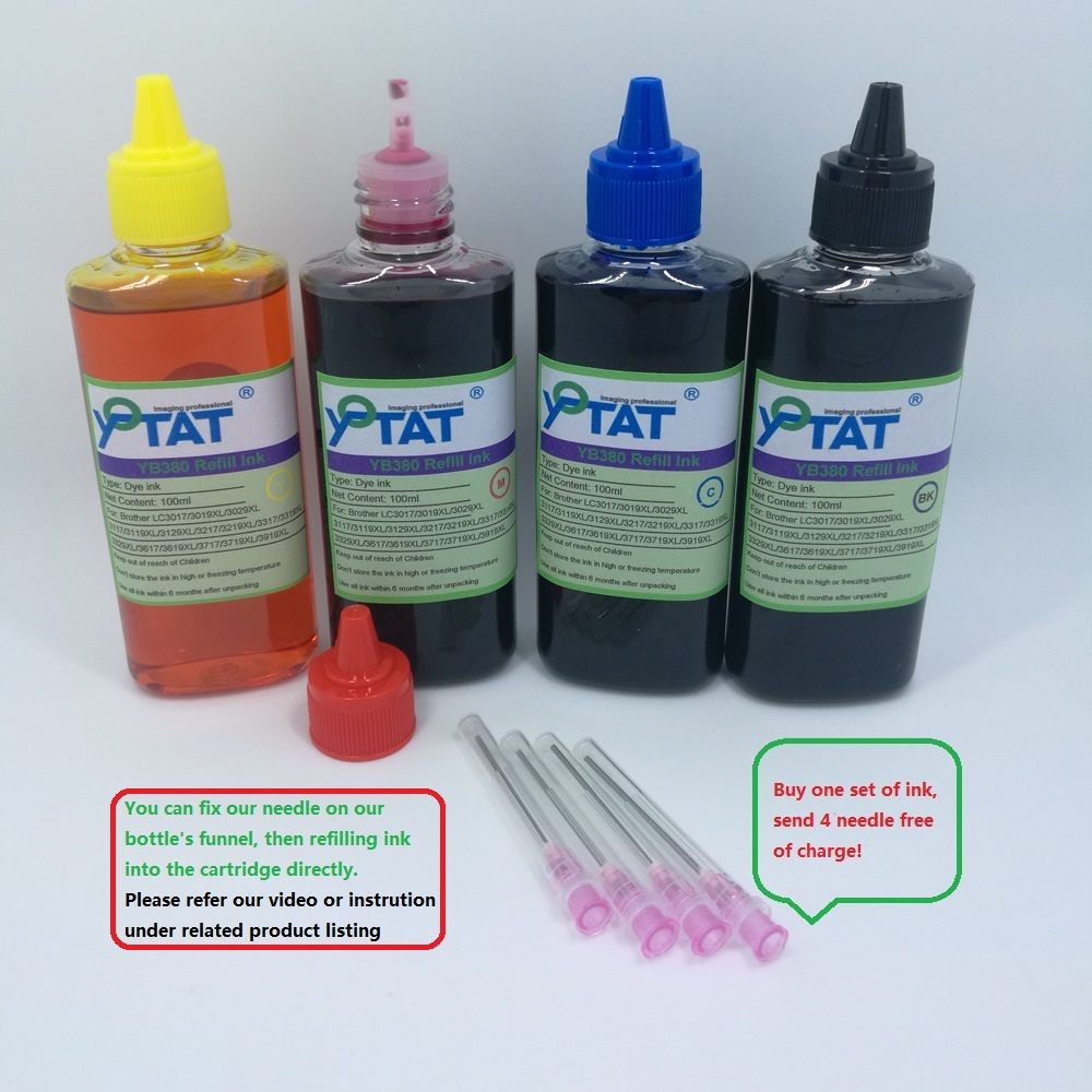 YOTAT 4x100ml Compatible Refill Dye Ink kit For LC3619 LC3619XL (LC3617) for Brother MFC-J2330DW MFC-J2730DW printerYOTAT 4x100ml Compatible Refill Dye Ink kit For LC3619 LC3619XL (LC3617) for Brother MFC-J2330DW MFC-J2730DW printer
