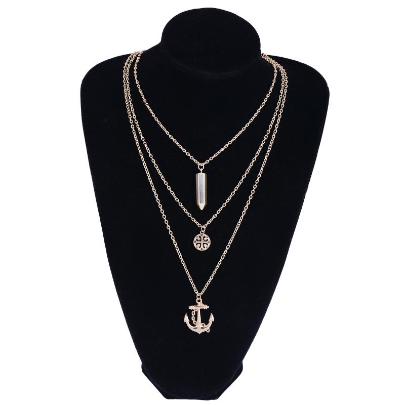 Fashion 2016 Women Jewelry Lady Alloy Golden Diament Anchor Sweater Chain Necklace & Pendants Multilayers Bullet Pendant